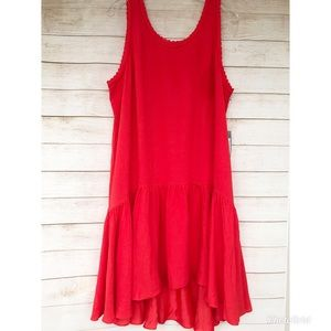 Pretty Coral/ Red High Low Dress